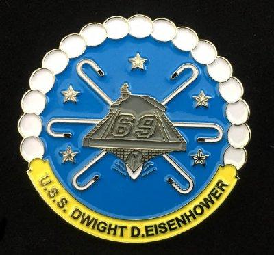 USS Dwight Eisenhower CVN 69 Officer Challenge Coin